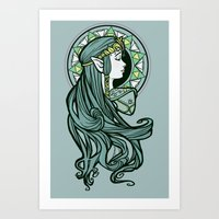 hallion Art Prints featuring Zelda Nouveau by Karen Hallion Illustrations