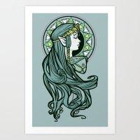 nouveau Art Prints featuring Zelda Nouveau by Karen Hallion Illustrations