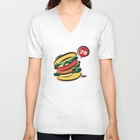 hamburger V-neck T-shirts featuring Hamburger by skyboysv