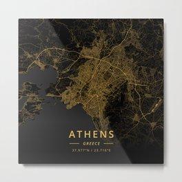 Athens, Greece - Gold Metal Print