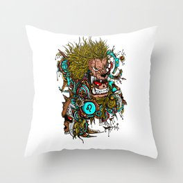 Leo Skull Zodiac Sign For July and August Birth Day Gift Throw Pillow