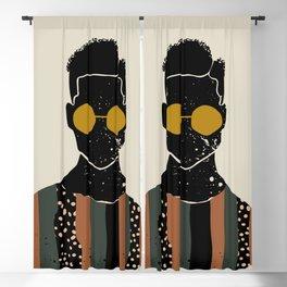 Black Hair No. 7 Blackout Curtain