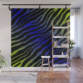 Ripped SpaceTime Stripes - Lime/Blue Wall Mural