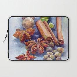 Watercolor winter spices cinnamon anise walnut pistachios Laptop Sleeve