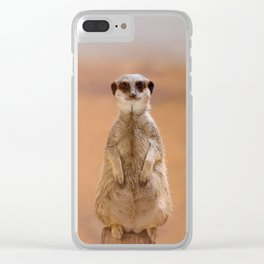 A cute Meerkat, standing on two legs, watches his area. Clear iPhone Case