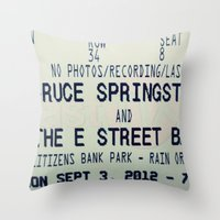 bruce springsteen Throw Pillows featuring Bruce Springsteen & the E Street Band: Rain or Shine by Christine Leanne