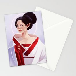Elf Lady Painting Stationery Cards