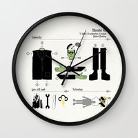 kit king Wall Clocks featuring Monster Kit by Graham Dobson