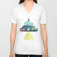 spaceship V-neck T-shirts featuring Spaceship. by Dani Does Art