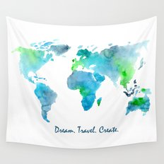 Dream. Travel. Create. || watercolor Wall Tapestry