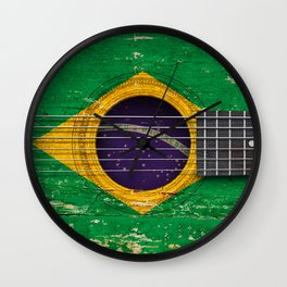Old Vintage Acoustic Guitar with Brazilian Flag Wall Clock