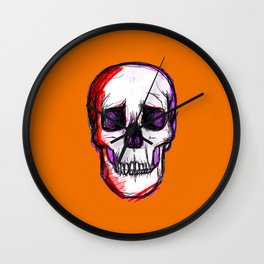 Pop Skull - orange Wall Clock