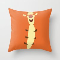 tigger Throw Pillows featuring Winnie the Pooh - Tigger by TracingHorses