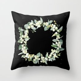 Black Snowberry and Eucalyptus Christmas Wreath / Border Throw Pillow