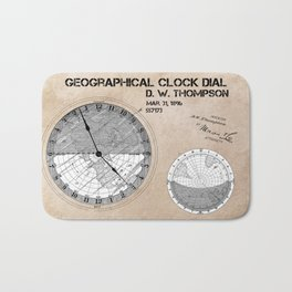 Geographical clock dial Thompson patent art Bath Mat