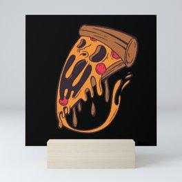 Funny Halloween Horror Pizza Cheese Mini Art Print