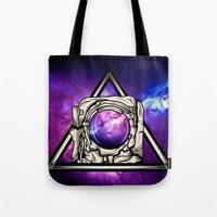 astronaut Tote Bags featuring Astronaut by Pancho the Macho