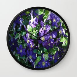 Blue Clematis Wall Clock