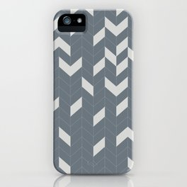 Grey and Grey Herringbone iPhone Case