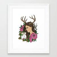 antler Framed Art Prints featuring Antler by Linn Leding