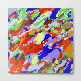 camouflage pattern painting abstract background in red blue green yellow brown purple Metal Print