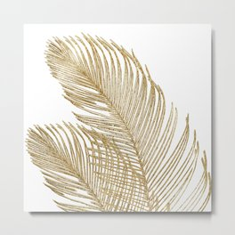 Palm Leaves Finesse Line Art with Gold Foil #2 #minimal #decor #art #society6 Metal Print