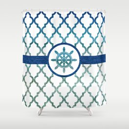 Ship Helm: Tropical Water Moroccan Pattern Shower Curtain