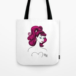 Vintage Fashion Doll Sketch with Pink Hair Tote Bag