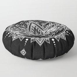 Lotus Mandala - Black Floor Pillow