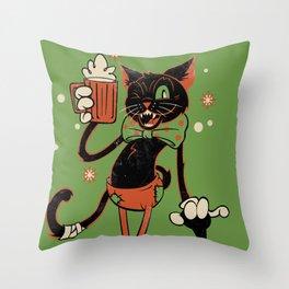 Drunk Halloween Cat Throw Pillow