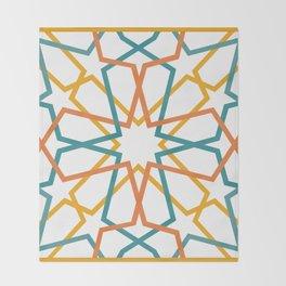 Orange Yellow Turquoise Geometric Tile Pattern Throw Blanket
