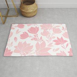 Elegant Pink Magnolia Floral Pattern Rug