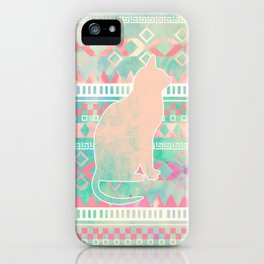 Whimsical Cat, Pink Turquoise Girly Aztec Pattern iPhone Case