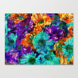 Colored Daisies Canvas Print