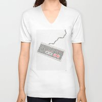 code V-neck T-shirts featuring Konami Code by Robotic Ewe