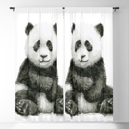 Panda Baby Watercolor Blackout Curtain