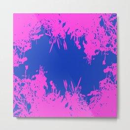 Blue And Hot Pink Grunge Artwork Metal Print