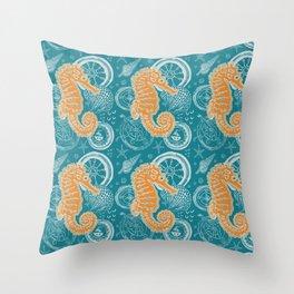 Seahorse Blue Throw Pillow