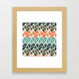Abstract geometric hand painted red black teal diamond shapes Framed Art Print