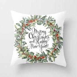 Merry Christmas and Happy New Year! Watercolor Throw Pillow