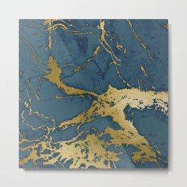 Blue Azul Marble Metal Print