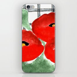 Poppies and Plaid iPhone Skin