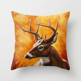 Whitetail Deer Buck Throw Pillow