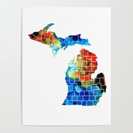 Michigan State Map - Counties by Sharon Cummings Poster