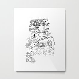 Alabama Hand Drawn Type and Illustrations Metal Print