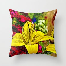 Fractal Yellow Lily Throw Pillow