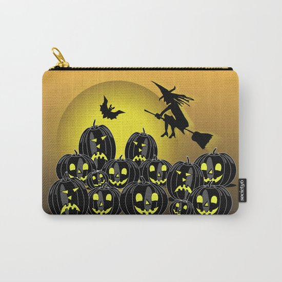 Pumpkins and witch in front of a full moon Carry-All Pouch