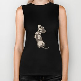 Happy dachshund illustration Biker Tank