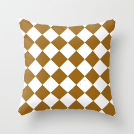Large Diamonds - White and Golden Brown Throw Pillow