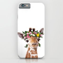 Baby Giraffe With Flower Crown, Baby Animals Art Print By Synplus iPhone Case